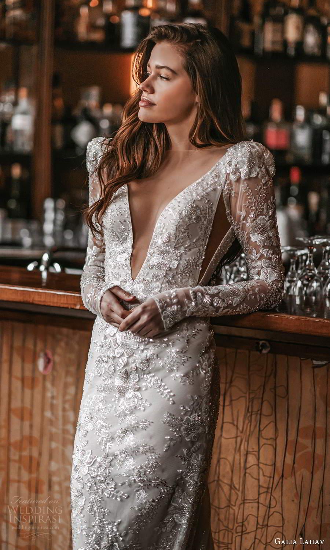 galia lahav spring 2022 gala bridal long puff sleeves plunging v necklne fully embellished sheath wedding dress chapel train (5) zv
