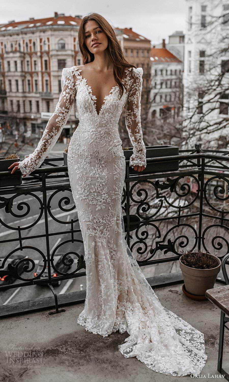 galia lahav spring 2022 gala bridal long sleeve v neckline fully embellished lace sheath wedding dress chapel train (1) mv