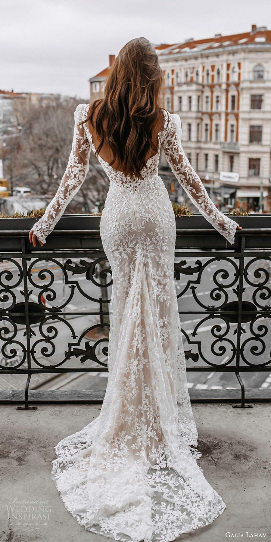 galia lahav spring 2022 gala bridal long sleeve v neckline fully embellished lace sheath wedding dress chapel train low back (1) bv