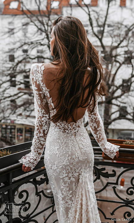 galia lahav spring 2022 gala bridal long sleeve v neckline fully embellished lace sheath wedding dress chapel train low back (1) zbv