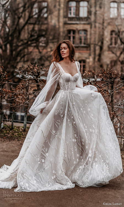 galia lahav spring 2022 gala bridal sheer bishop long sleeve sweetheart neckline fully embellished romantic a line ball gown wedding dress chapel train (9) mv