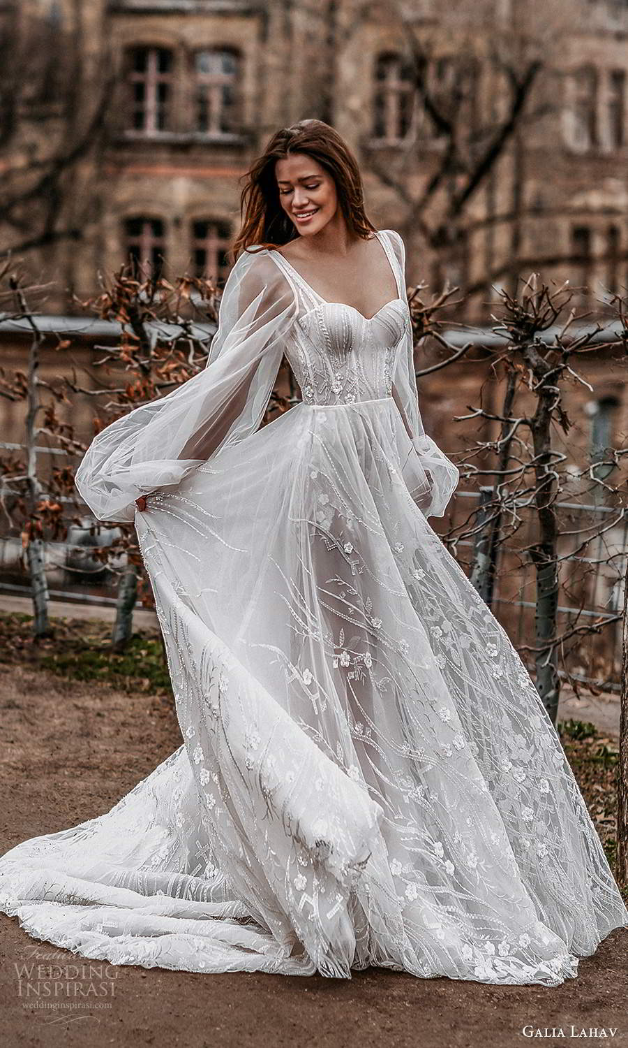 galia lahav spring 2022 gala bridal sheer bishop long sleeve sweetheart neckline fully embellished romantic a line ball gown wedding dress chapel train (9) sv