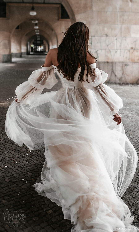 galia lahav spring 2022 gala bridal sheer bishop sleeps off shoulder scoop neckline clean minimalist a line ball gown wedding dress chapel train (10) bv