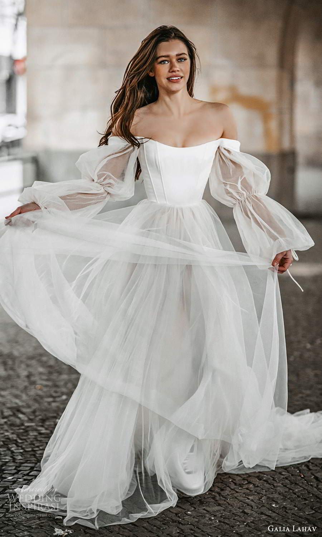 galia lahav spring 2022 gala bridal sheer bishop sleeps off shoulder scoop neckline clean minimalist a line ball gown wedding dress chapel train (10) mv