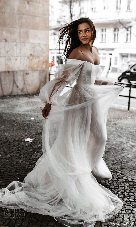 galia lahav spring 2022 gala bridal sheer bishop sleeps off shoulder scoop neckline clean minimalist a line ball gown wedding dress chapel train (10) sv