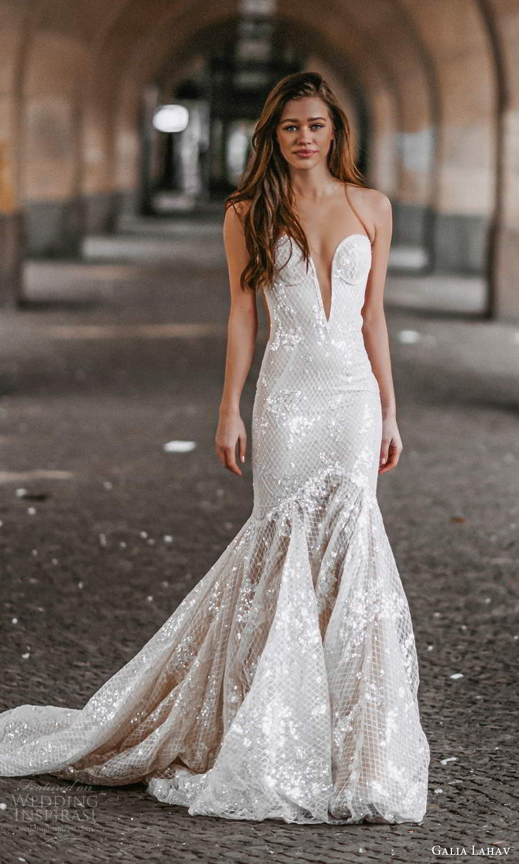 galia lahav spring 2022 gala bridal sleeveless sheer straps plunging sweetheart neckline fully embellished fit flare mermaid wedding dress chapel train (7) fv