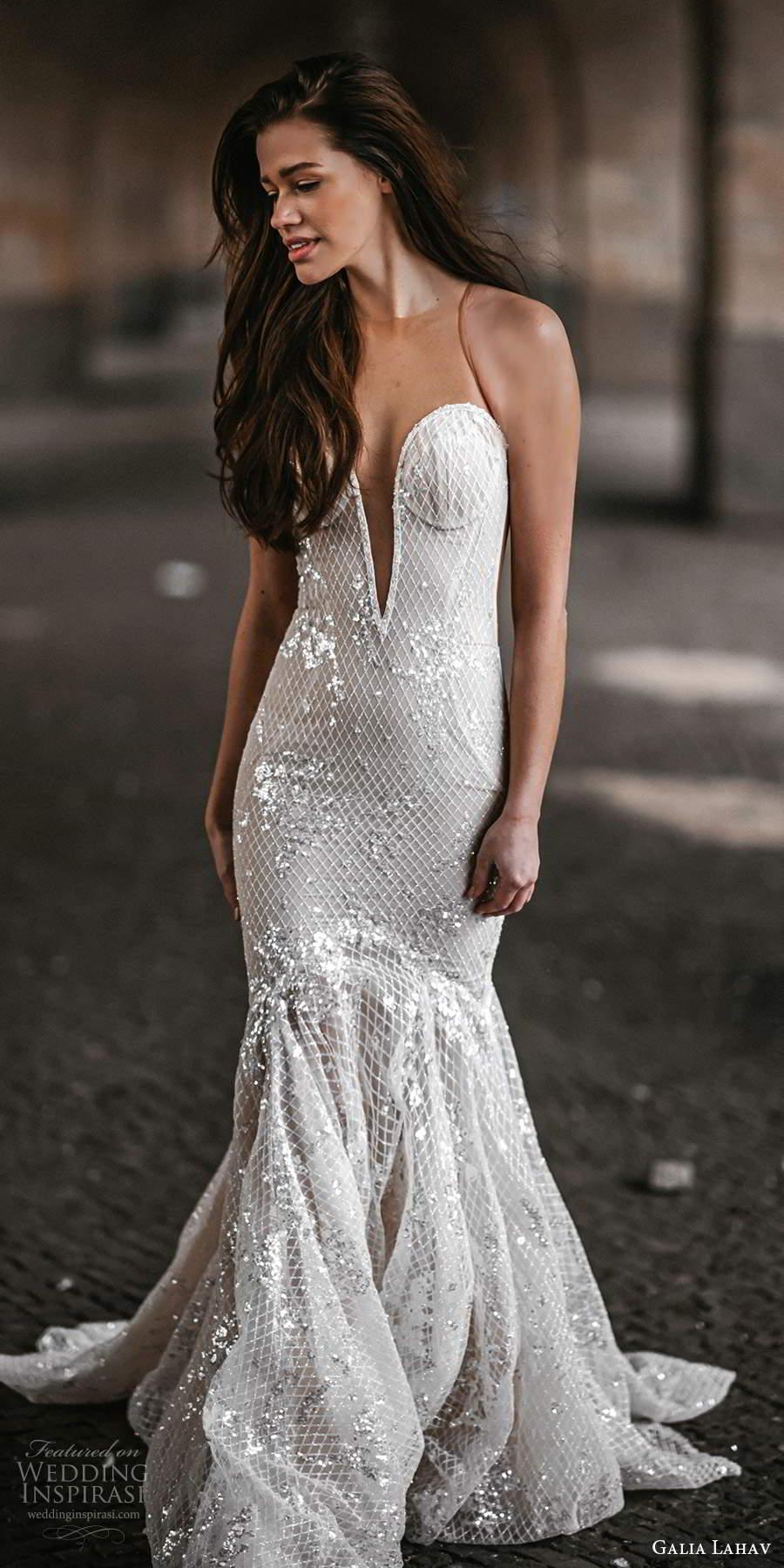 galia lahav spring 2022 gala bridal sleeveless sheer straps plunging sweetheart neckline fully embellished fit flare mermaid wedding dress chapel train (7) lv