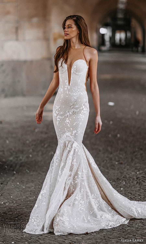galia lahav spring 2022 gala bridal sleeveless sheer straps plunging sweetheart neckline fully embellished fit flare mermaid wedding dress chapel train (7) sv