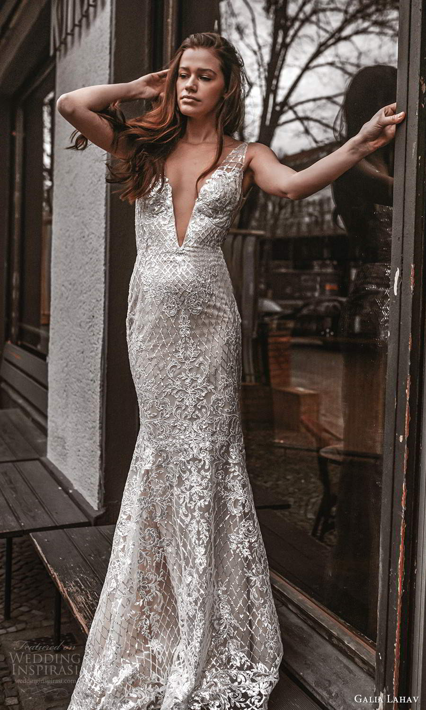 galia lahav spring 2022 gala bridal sleeveless straps plunging v neckline fully embellished fit flare mermaid sheath wedding dress chapel train (12) mv