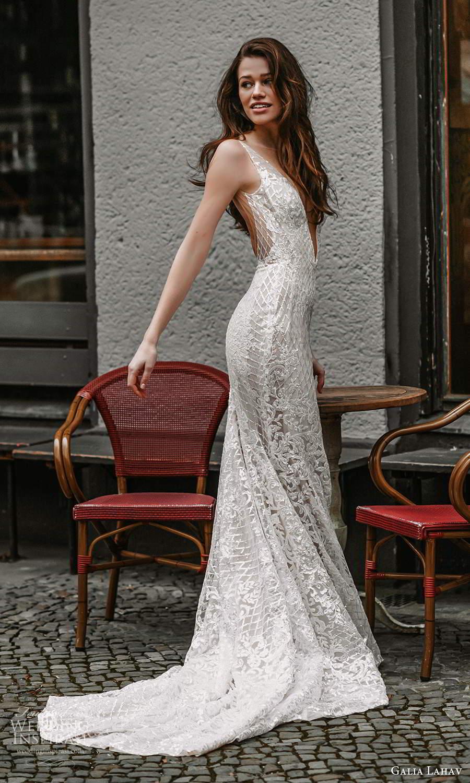galia lahav spring 2022 gala bridal sleeveless straps plunging v neckline fully embellished fit flare mermaid sheath wedding dress chapel train low back (12) sv