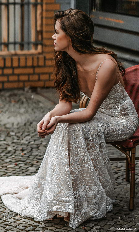 galia lahav spring 2022 gala bridal sleeveless straps plunging v neckline fully embellished fit flare mermaid sheath wedding dress chapel train low back (12) zsv