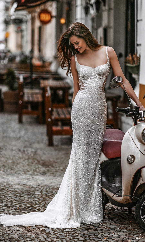 galia lahav spring 2022 gala bridal sleeveless straps square neckline fully embellished sheath wedding dress sweep train (8) mv