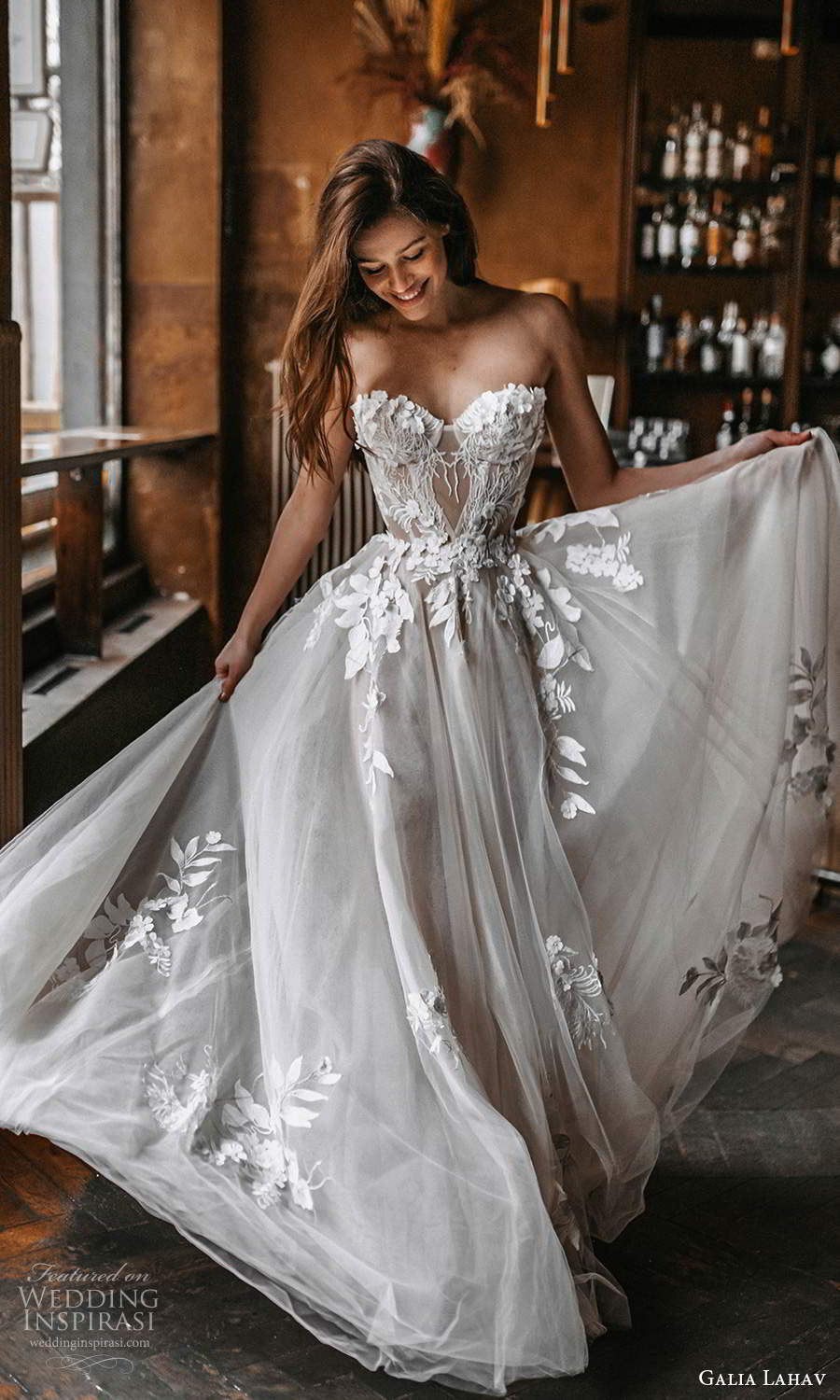 galia lahav spring 2022 gala bridal strapless sweetheart neckline embellished corset bodice a line ball gown wedding dress chapel train (4) mv