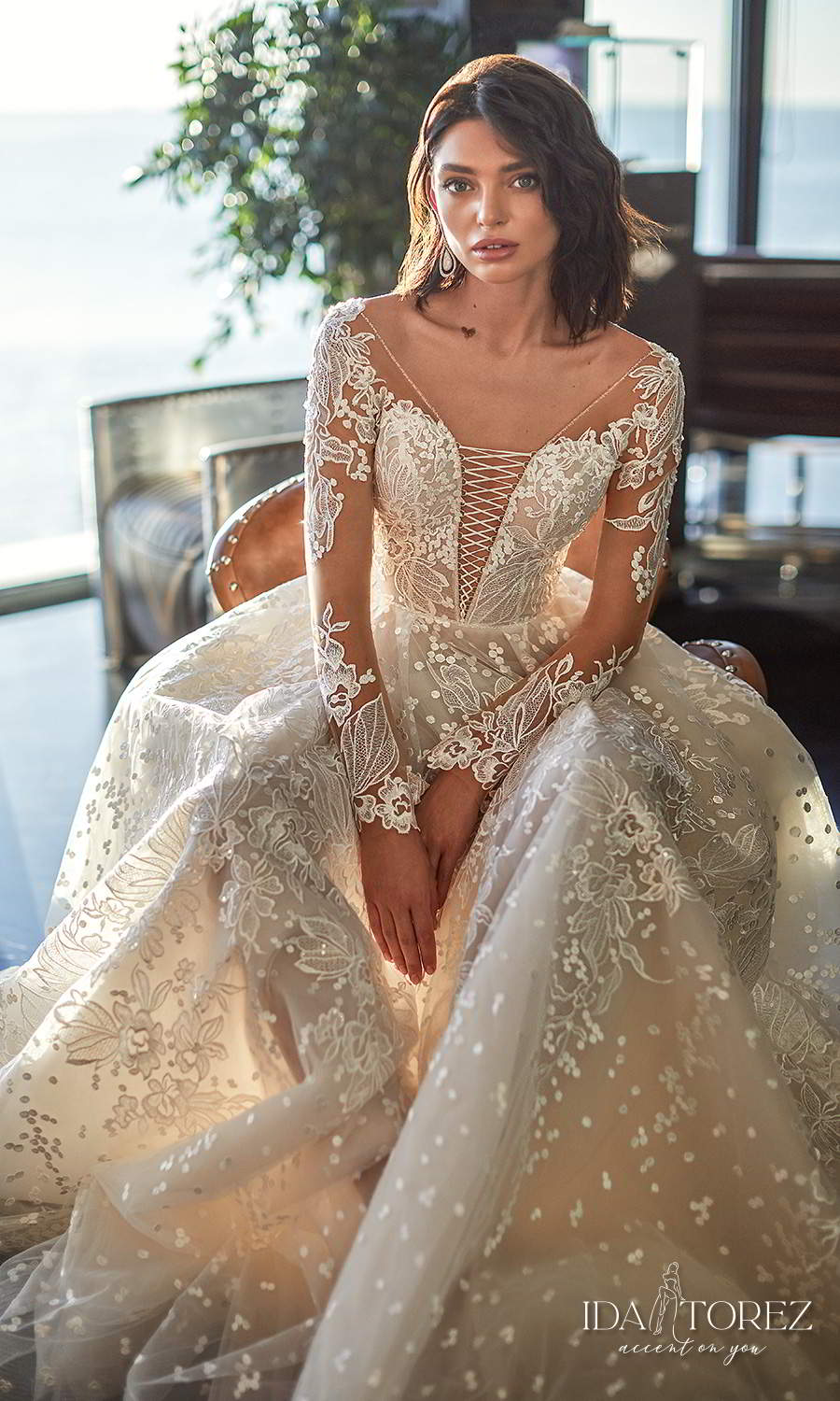 ida torez 2021 bridal long sleeve plunging v neckline fully embellished lace a line ball gown wedding dress chapel train (ideal woman) zv