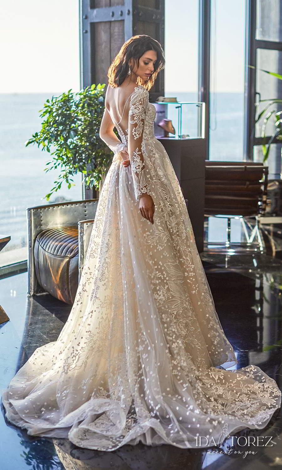 ida torez 2021 bridal long sleeve plunging v neckline fully embellished lace a line ball gown wedding dress chapel train sheer back (ideal woman) bv