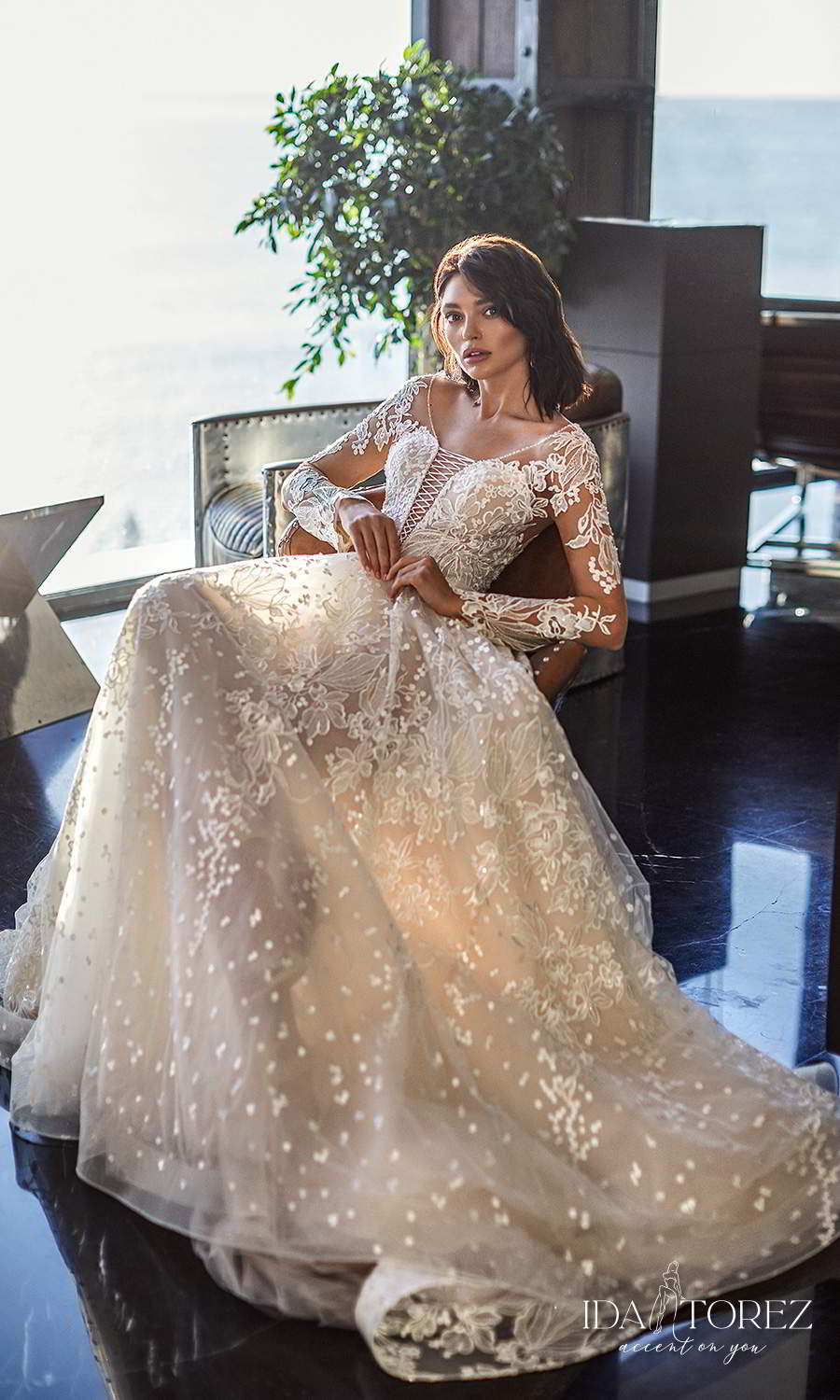ida torez 2021 bridal long sleeve plunging v neckline fully embellished lace a line ball gown wedding dress chapel train sheer back (ideal woman) mv