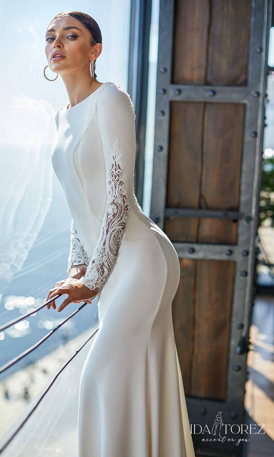 ida torez 2021 bridal long sleeves bateau neckline embellished cuff clean minimalist sheath wedding dress illusion back chapel train (perfect choice) mv