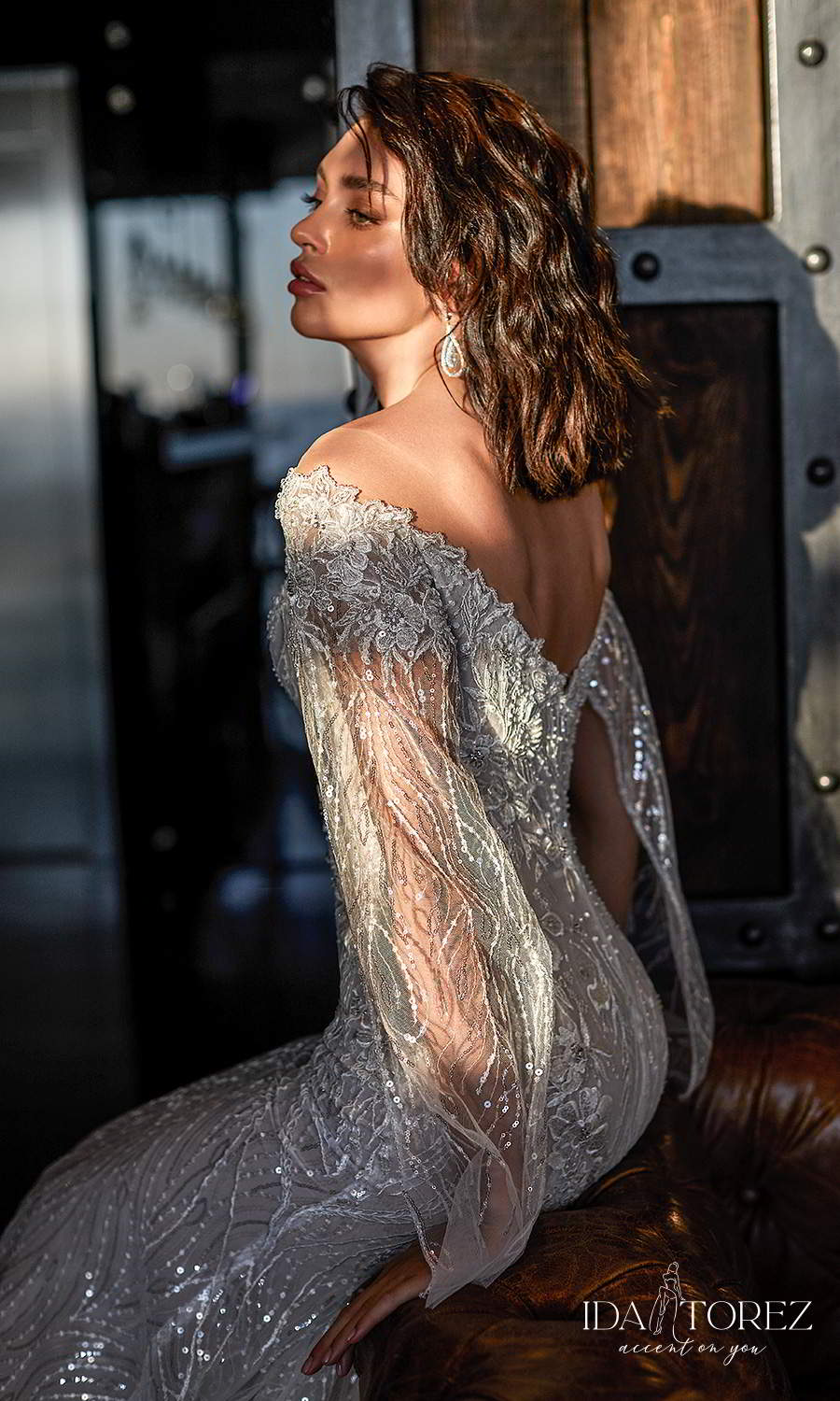ida torez 2021 bridal long split sleeves bateau neckline fully embellished modified a line wedding dress chapel train (confidence) zsv