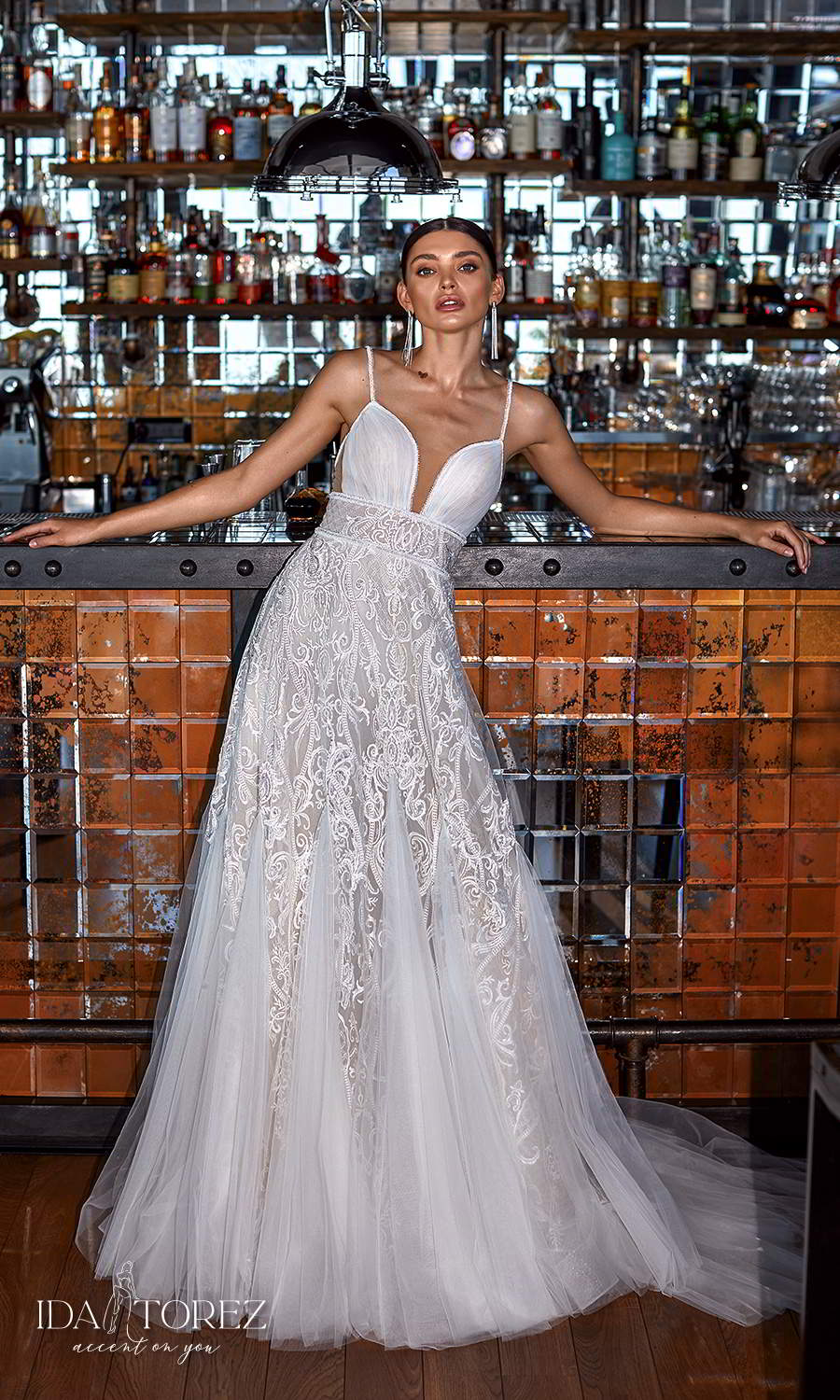 ida torez 2021 bridal sleeveles straps plunging sweetheart neckline embellished skirt a line ball gown wedding dress chapel train (your intention) mv