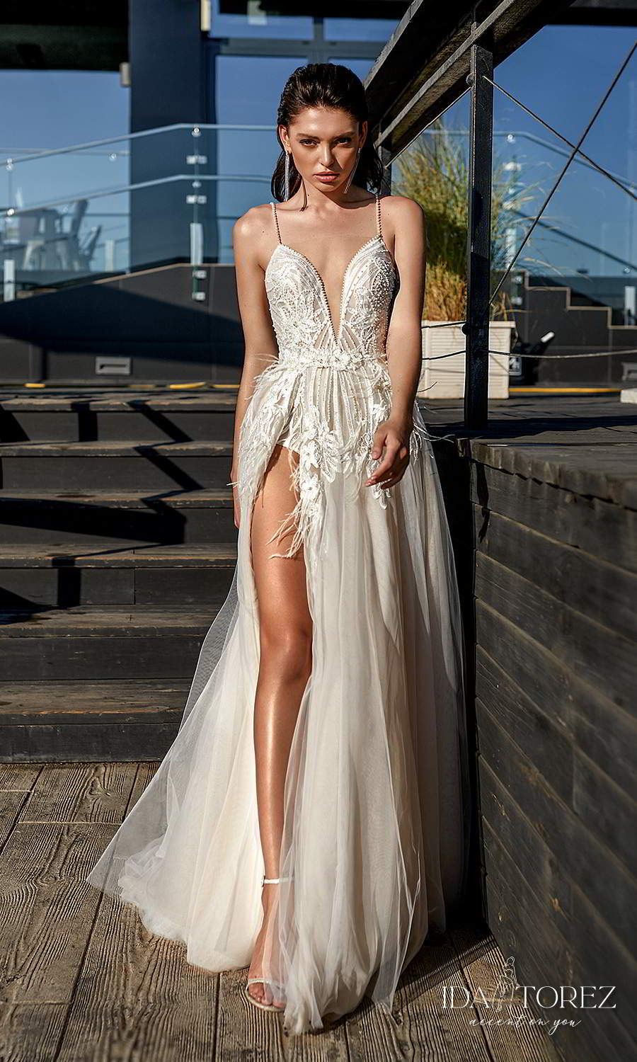 ida torez 2021 bridal sleeveless beaded thin straps plunging v neckline heavily embellished bodice a line ball gown wedding dress slit skirt chapel train (frankness) mv