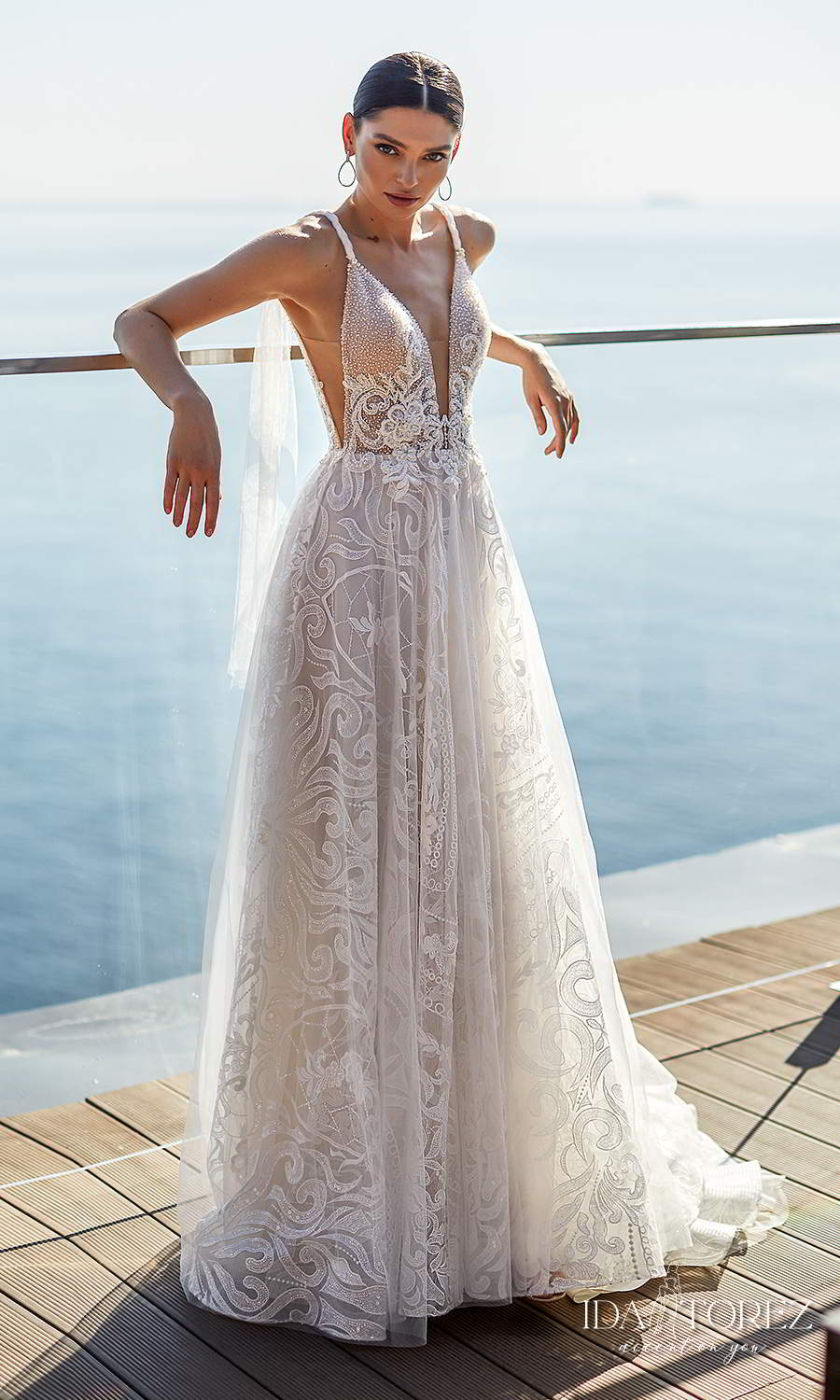 ida torez 2021 bridal sleeveless straps plunging v neckline fully embellished lace a line ball gown wedding dress chapel train (tempting mouth) mv