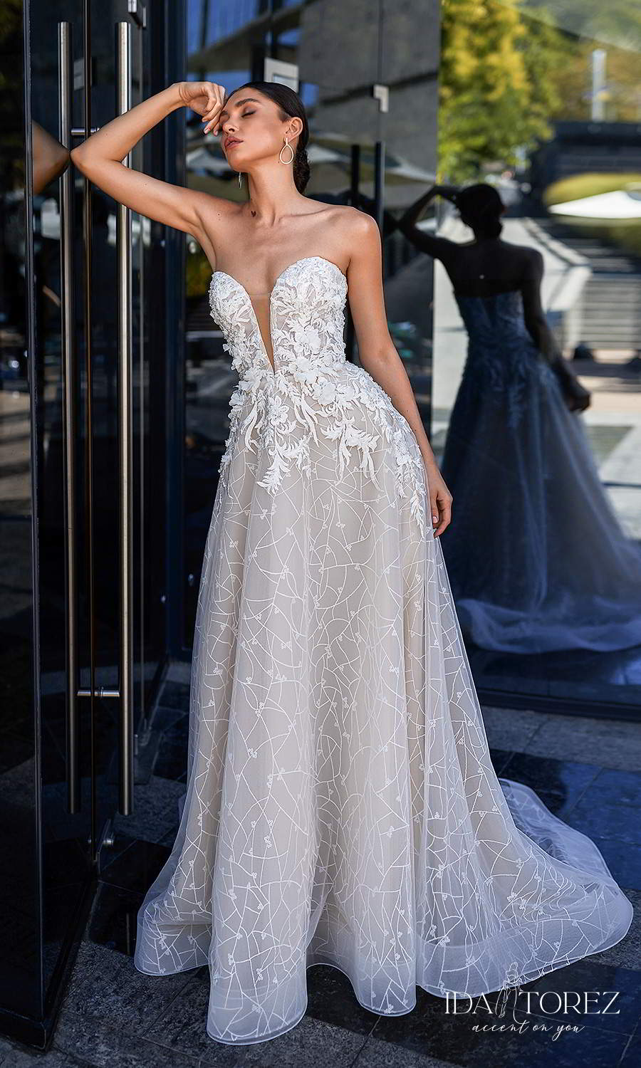 ida torez 2021 bridal strapless sweetheart neckline fully embellished a line ball gown wedding dress chapel train (desire) mv
