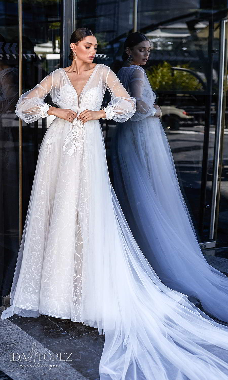 ida torez 2021 bridal strapless sweetheart neckline fully embellished a line ball gown wedding dress chapel train long puff sleeve coat (desire) mv
