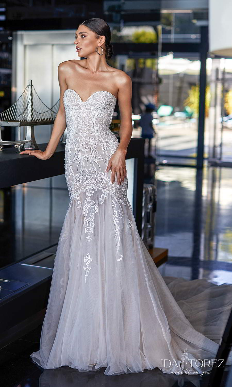ida torez 2021 bridal strapless sweetheart neckline heavily embellished bodice fit flare mermaid wedding dress chapel train (piercing gaze) mv