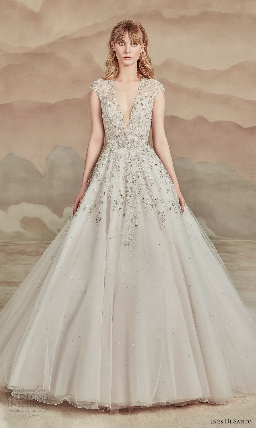 ines di santo spring 2022 bridal cap sleeves v neckline embellished bodice a line ball gown wedding dress chapel train (21) mv