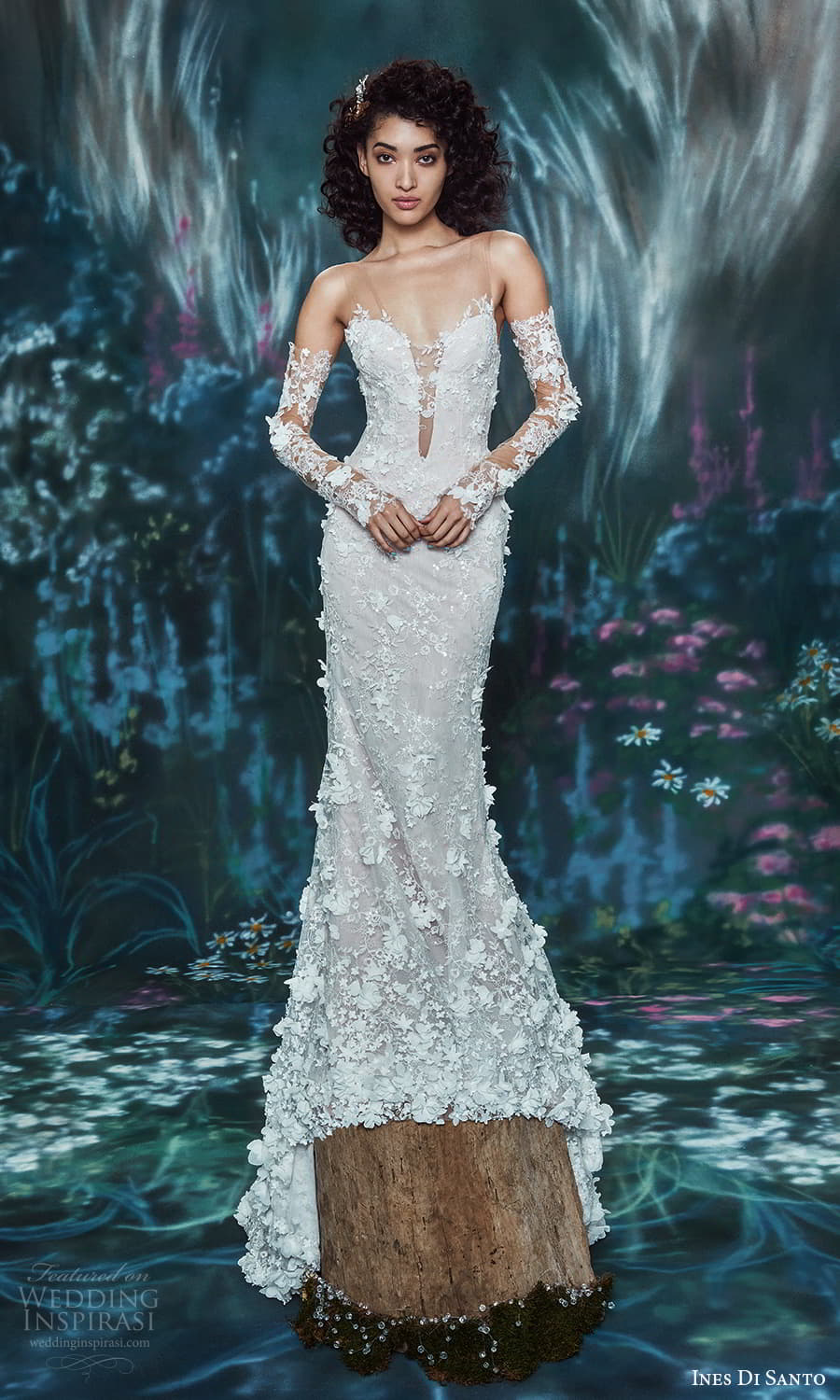 ines di santo spring 2022 bridal detached lace sleeves sleeveless sheer straps plunging v neckline fully embellished sheath wedding dress chapel train (9) mv