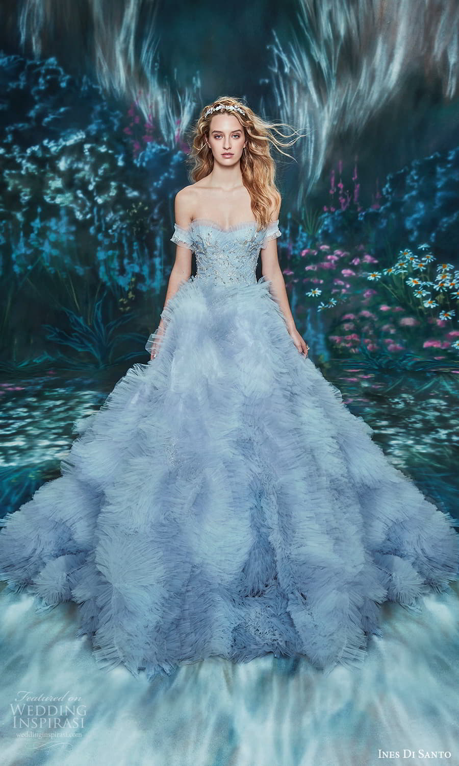 ines di santo spring 2022 bridal off shoulder straps semi sweetheart neckline embellished bodice ruffle skirt a line ball gown wedding dress chapel train (3) mv