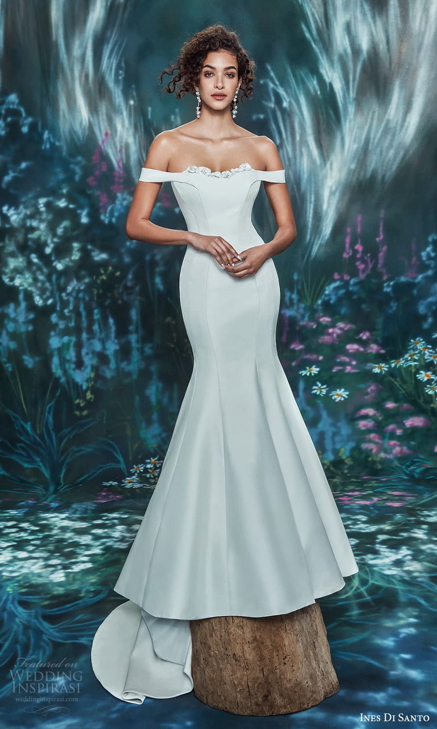 ines di santo spring 2022 bridal off shoulder straps sweetheart neckline clean minimalist mermaid wedding dress chapel train (11) mv