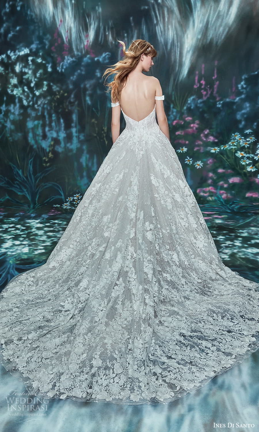 ines di santo spring 2022 bridal off shoulder straps sweetheart neckline fully embellished a line ball gown wedding dress chapel train (13) bv