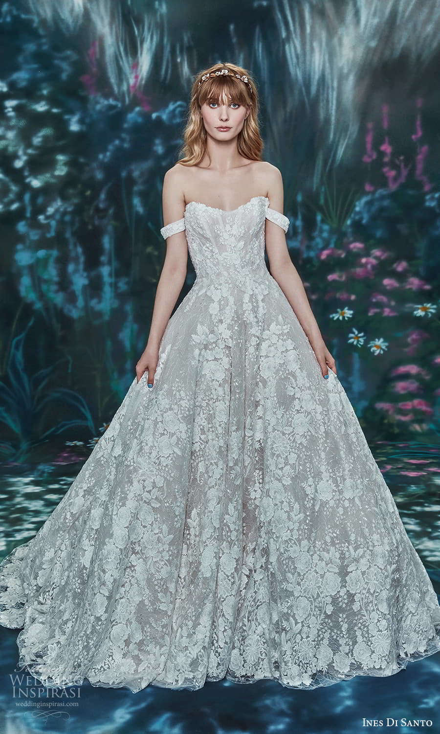 ines di santo spring 2022 bridal off shoulder straps sweetheart neckline fully embellished a line ball gown wedding dress chapel train (13) mv