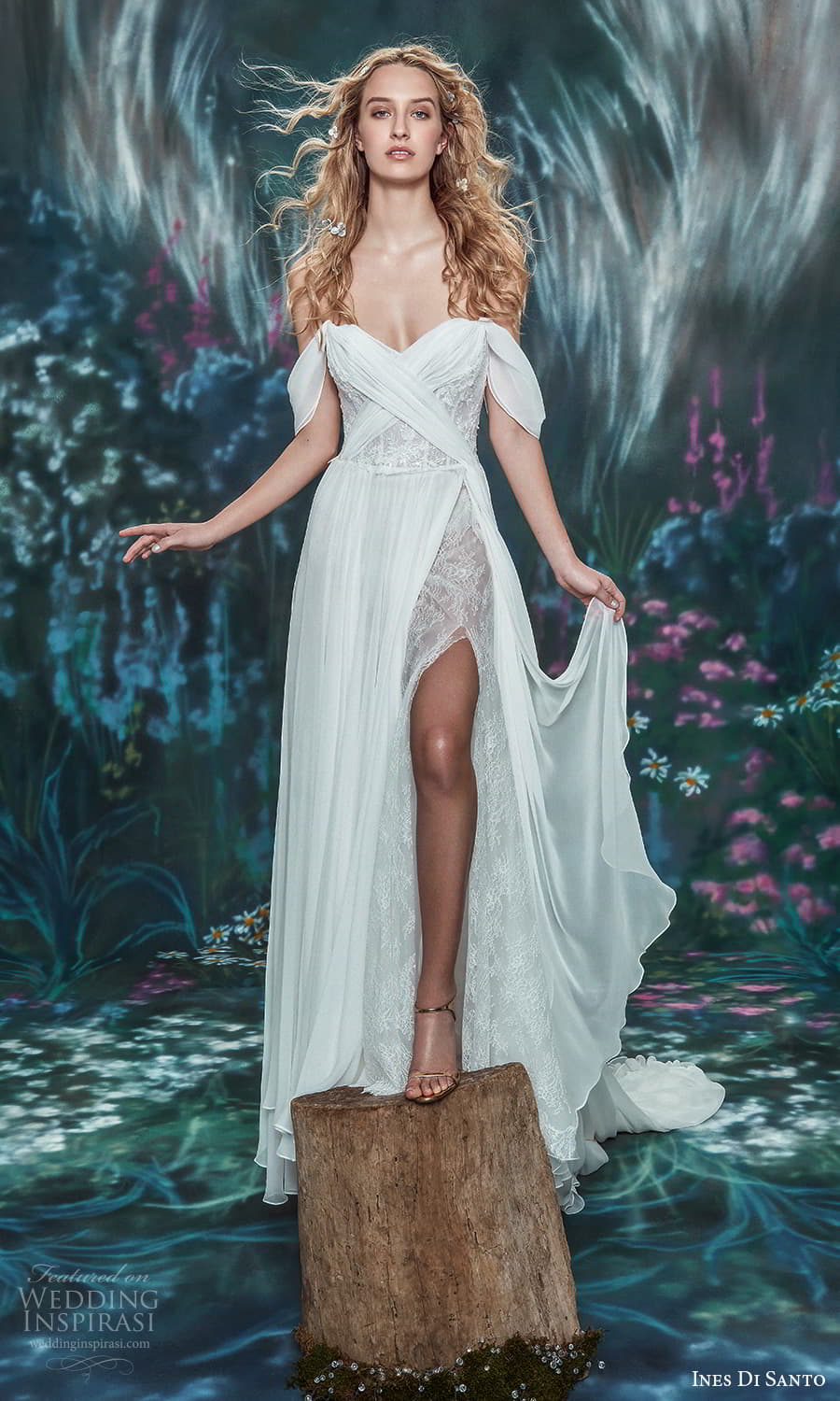 ines di santo spring 2022 bridal off shoulder swag straps sweetheart neckline ruched bodice a line wedding dress slit skirt (19) mv