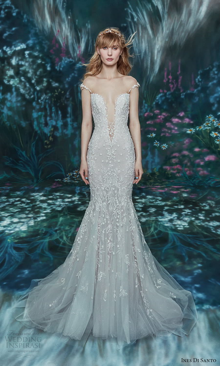 ines di santo spring 2022 bridal sheer cap sleeve plunging v neckline fully embellished trumpet mermaid wedding dress chapel train (6) mv