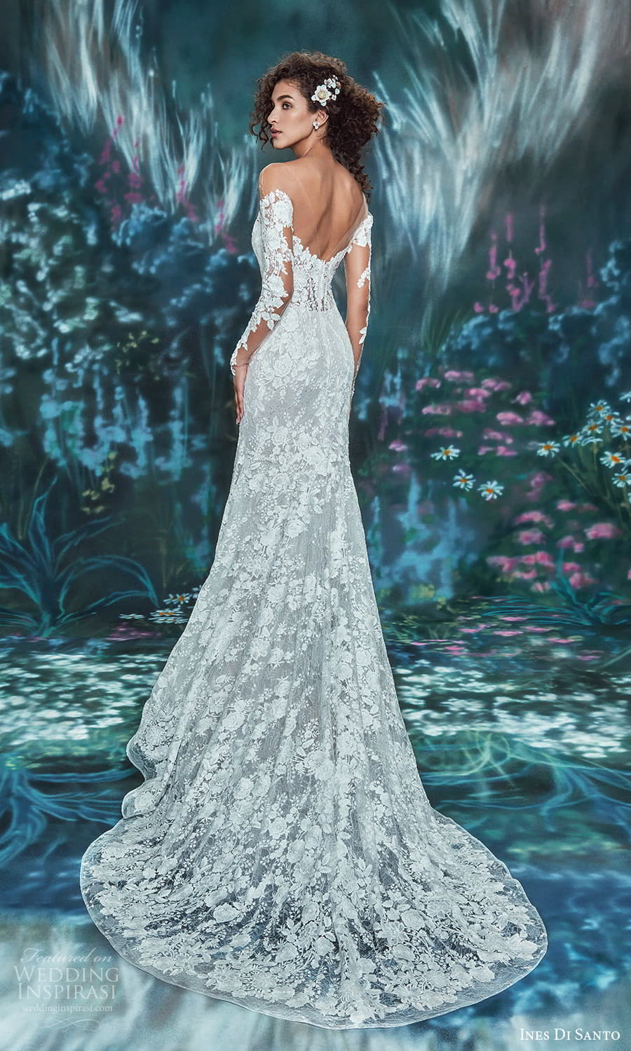 ines di santo spring 2022 bridal sheer long sleeves semi sweetheart neckline fully embellishe fit flare mermaid wedding dress chapel train (2) bv