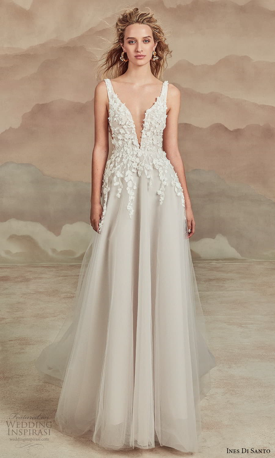 ines di santo spring 2022 bridal sleeveless straps plunging v neckline embellished bodice a line ball gown wedding dress chapel train (20) mv