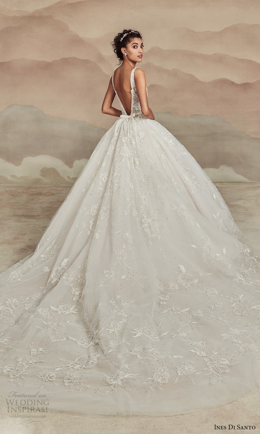 ines di santo spring 2022 bridal sleeveless straps plunging v neckline fully embellished a line ball gown wedding dress chapel train (8) bv