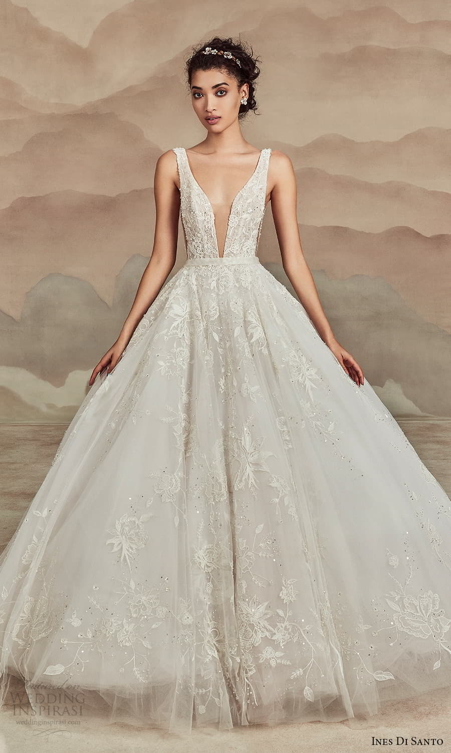 ines di santo spring 2022 bridal sleeveless straps plunging v neckline fully embellished a line ball gown wedding dress chapel train (8) mv
