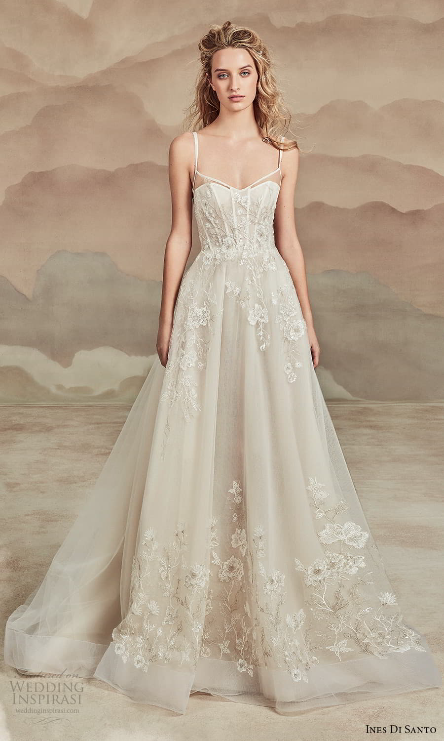 ines di santo spring 2022 bridal sleeveless straps semi sweetheart neckline fully embellished a line ball gown wedding dress chapel train (15) mv