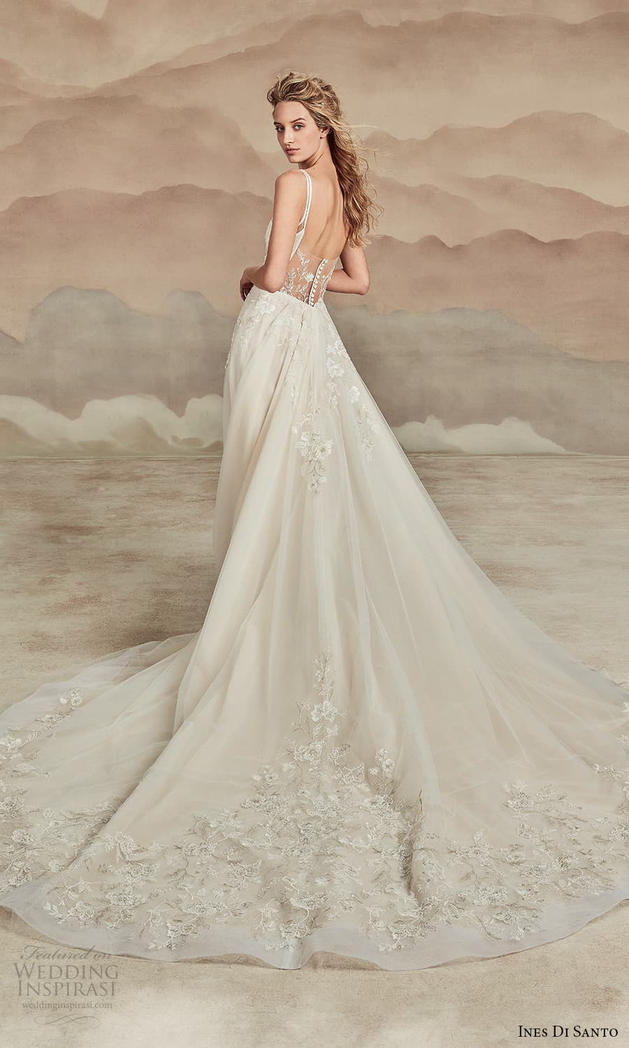 ines di santo spring 2022 bridal sleeveless straps semi sweetheart neckline fully embellished a line ball gown wedding dress chapel train sheer back (15) bv