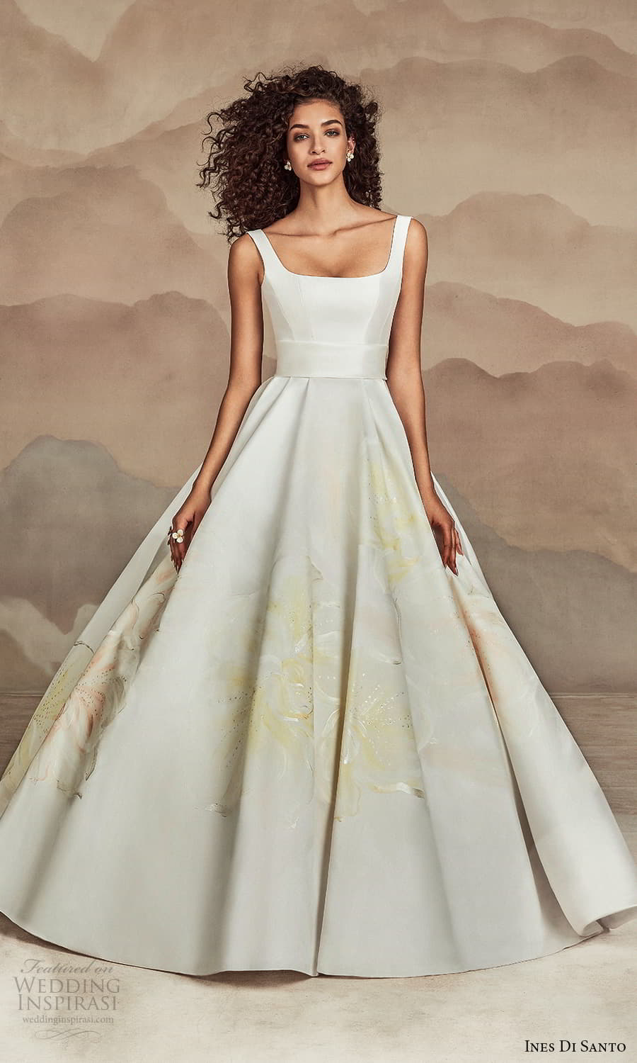 ines di santo spring 2022 bridal sleeveless straps square neckline clean minimalist a line ball gown wedding dress chapel train (14) mv