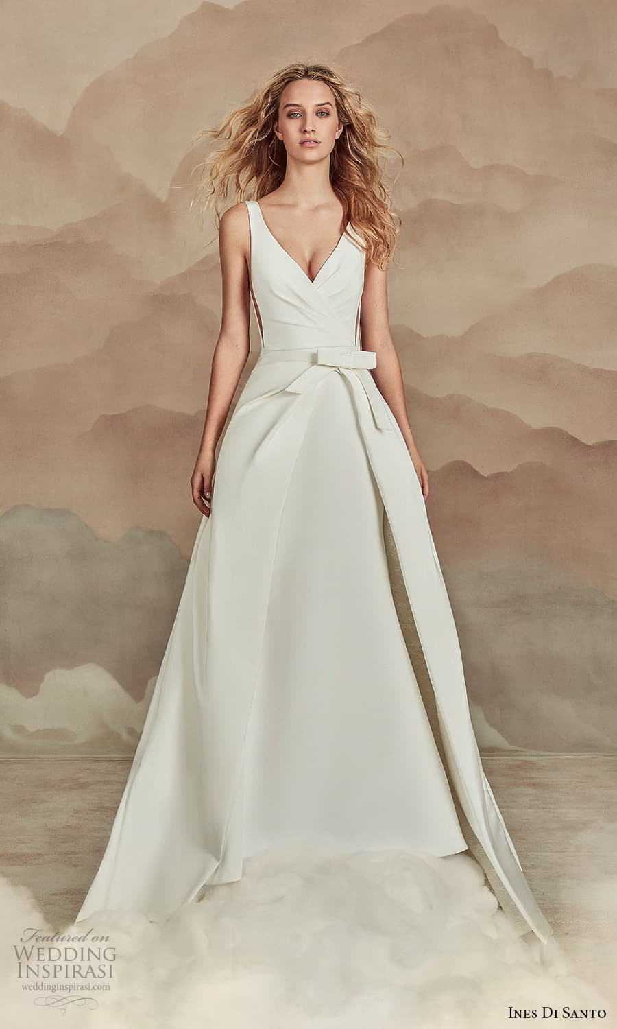 ines di santo spring 2022 bridal sleeveless straps v neckline clean minimalist a line ball gown wedding dress chapel train (17) mv