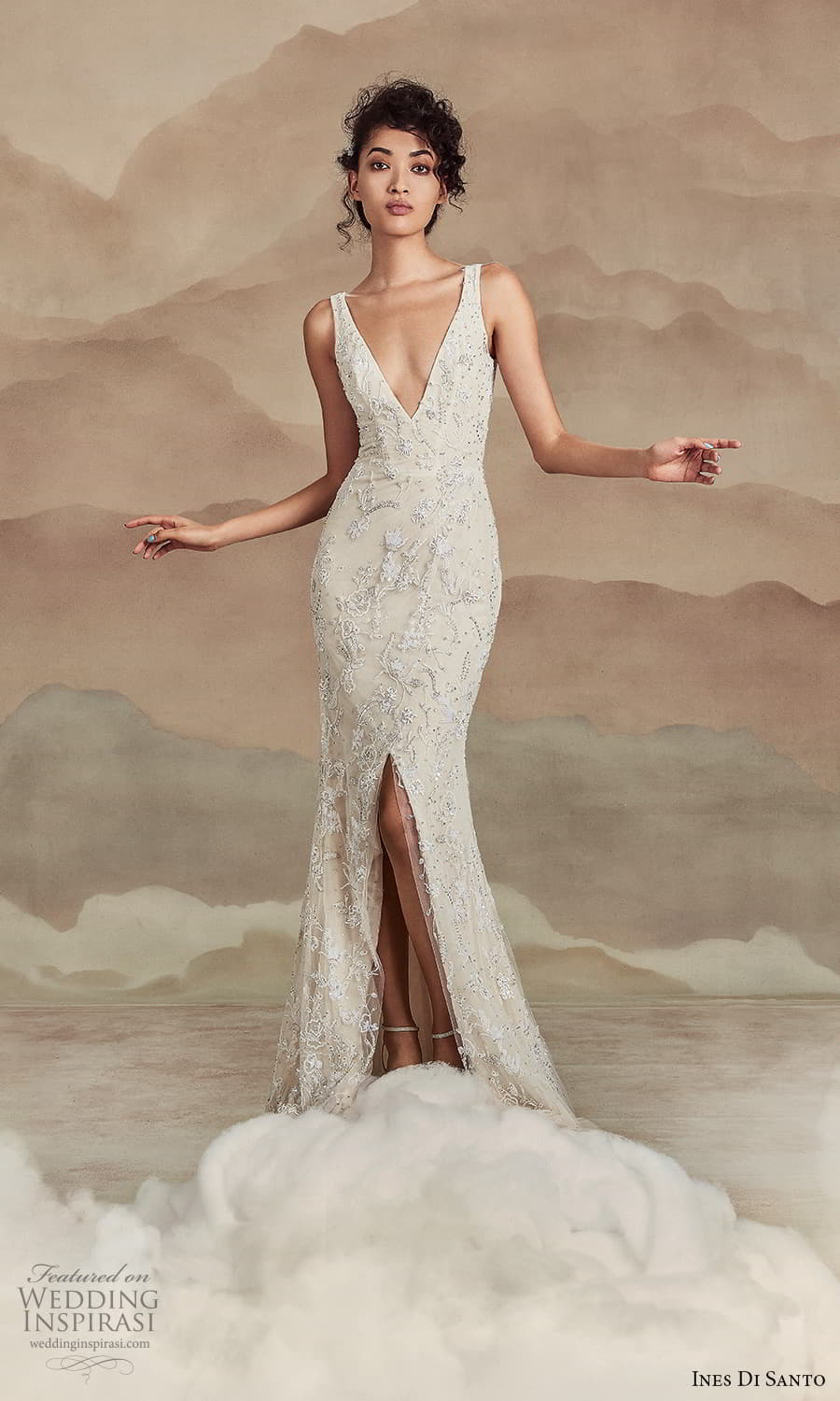 ines di santo spring 2022 bridal sleeveless straps v neckline fully embellished sheath wedding dres slit skirt (4) mv