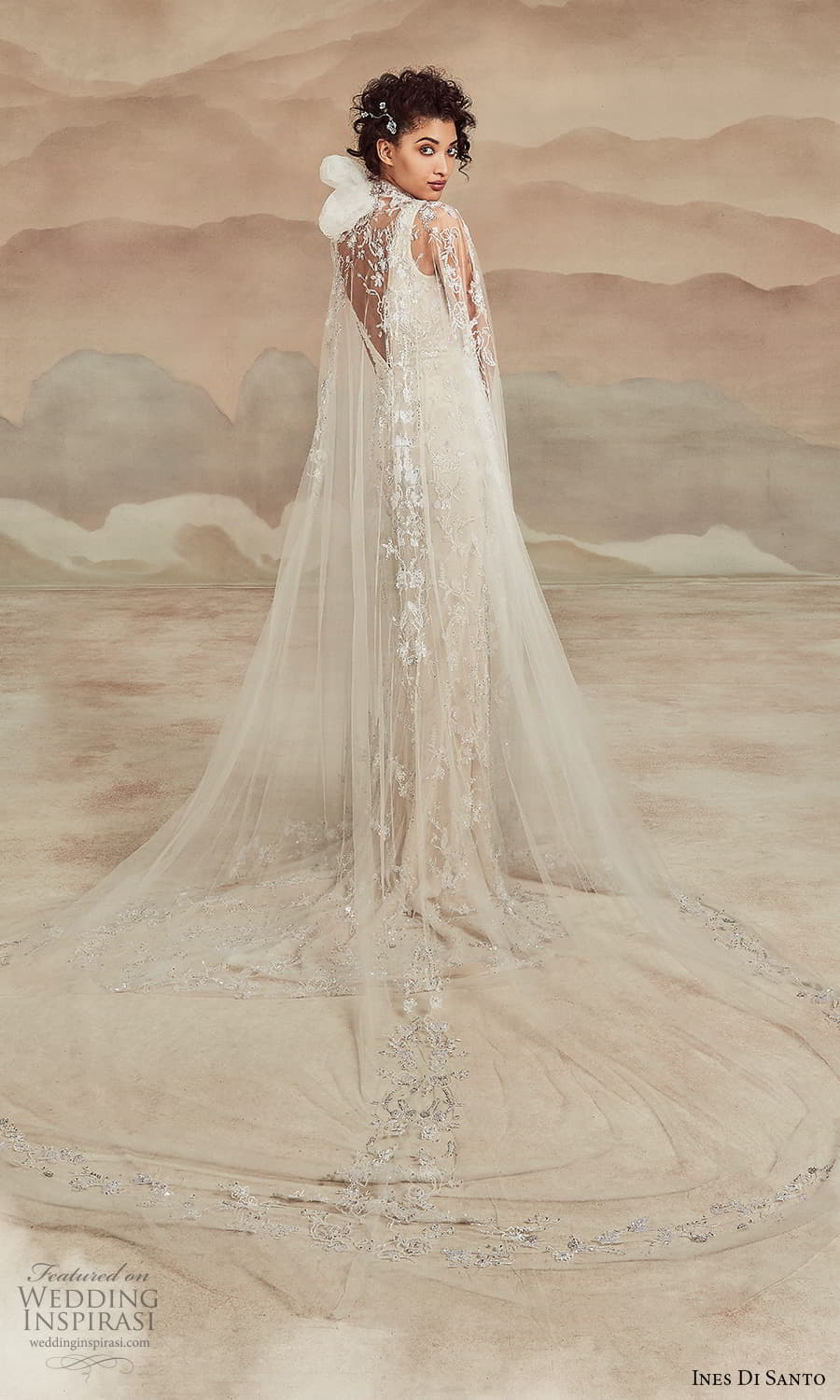 ines di santo spring 2022 bridal sleeveless straps v neckline fully embellished sheath wedding dres slit skirt sheer cape (4) bv