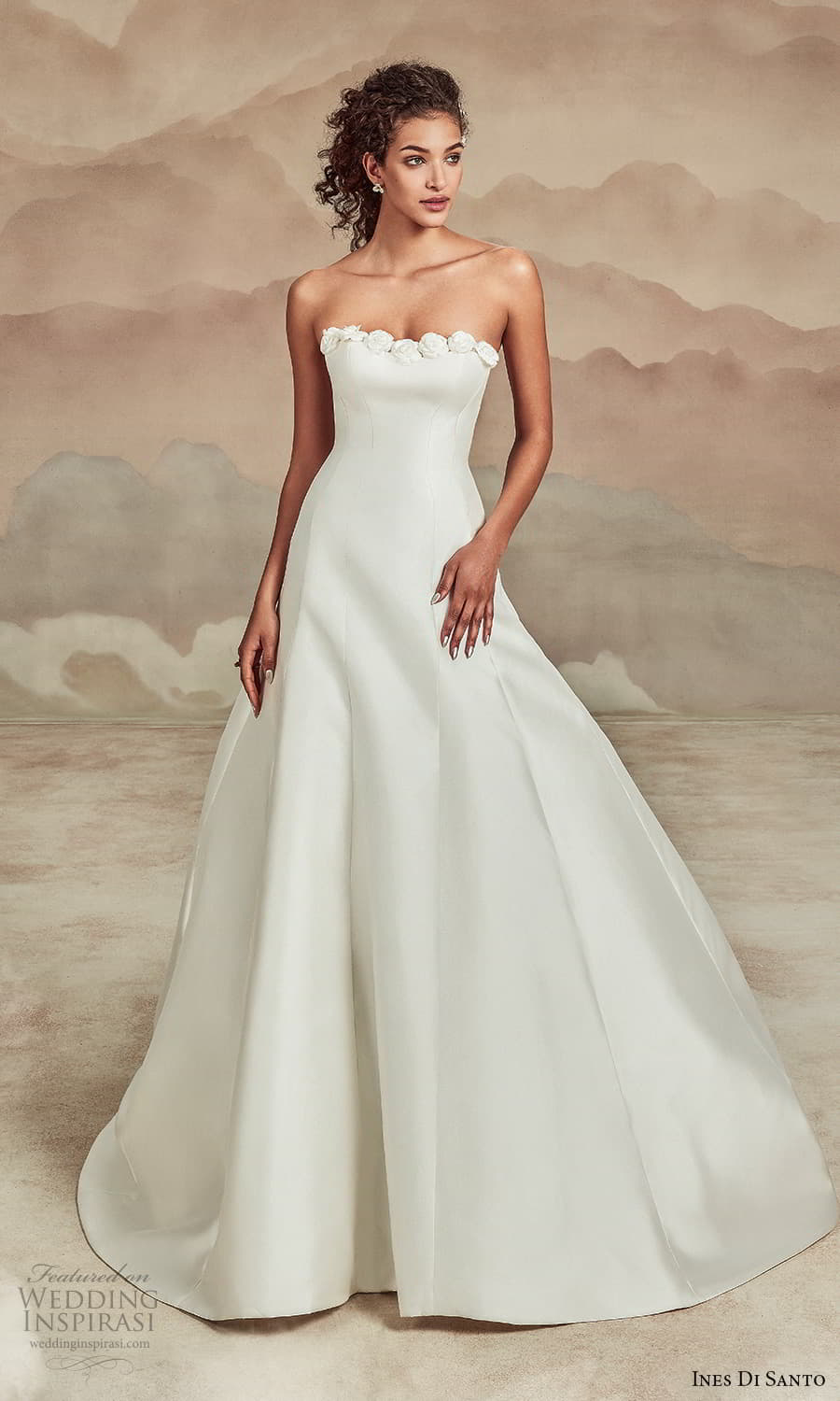 ines di santo spring 2022 bridal strapless embellished straight across neckline clean minimalist modified a line wedding dress chapel train (18) mv