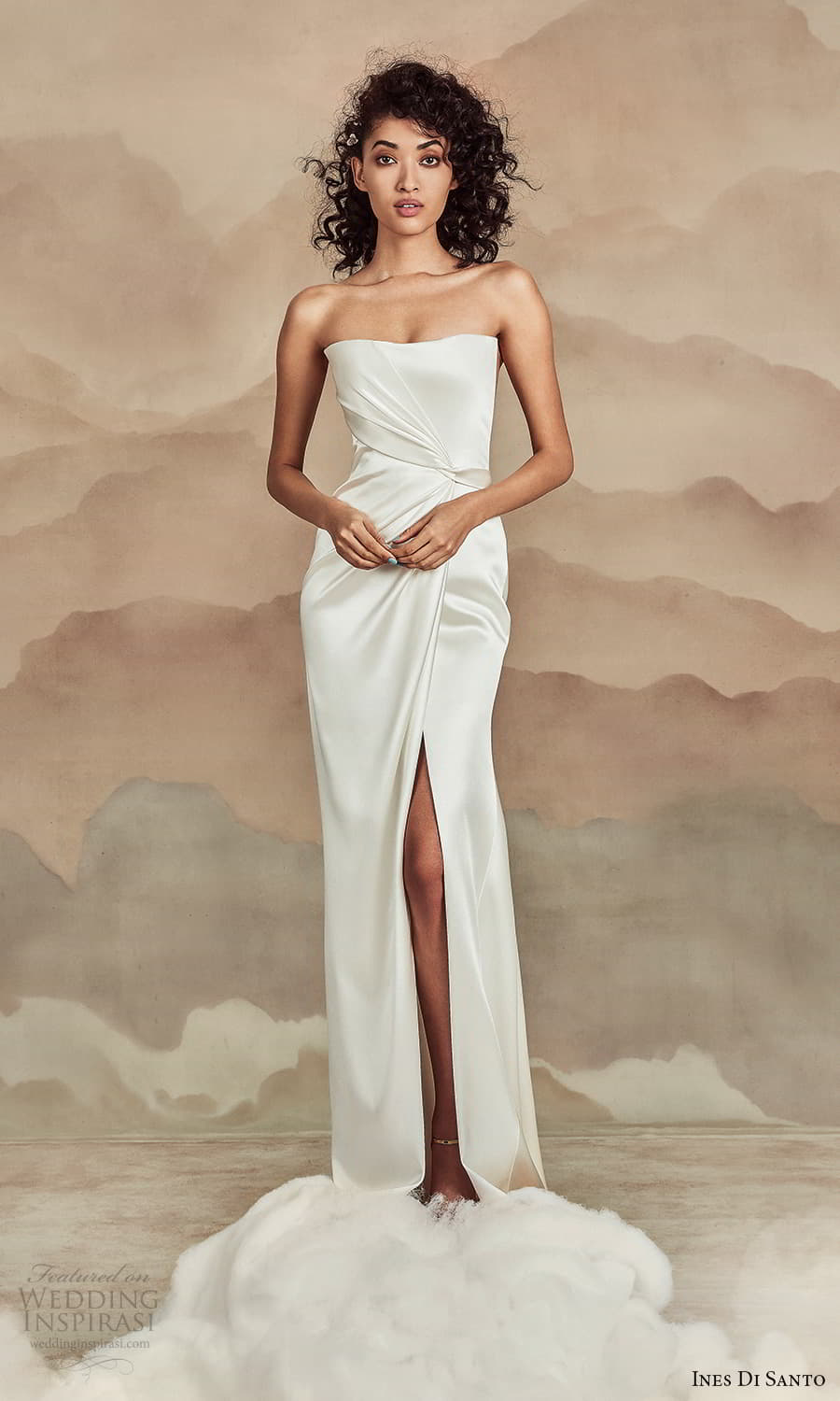 ines di santo spring 2022 bridal strapless straight across neckline clean minimalist sheath wedding dress (8) mv