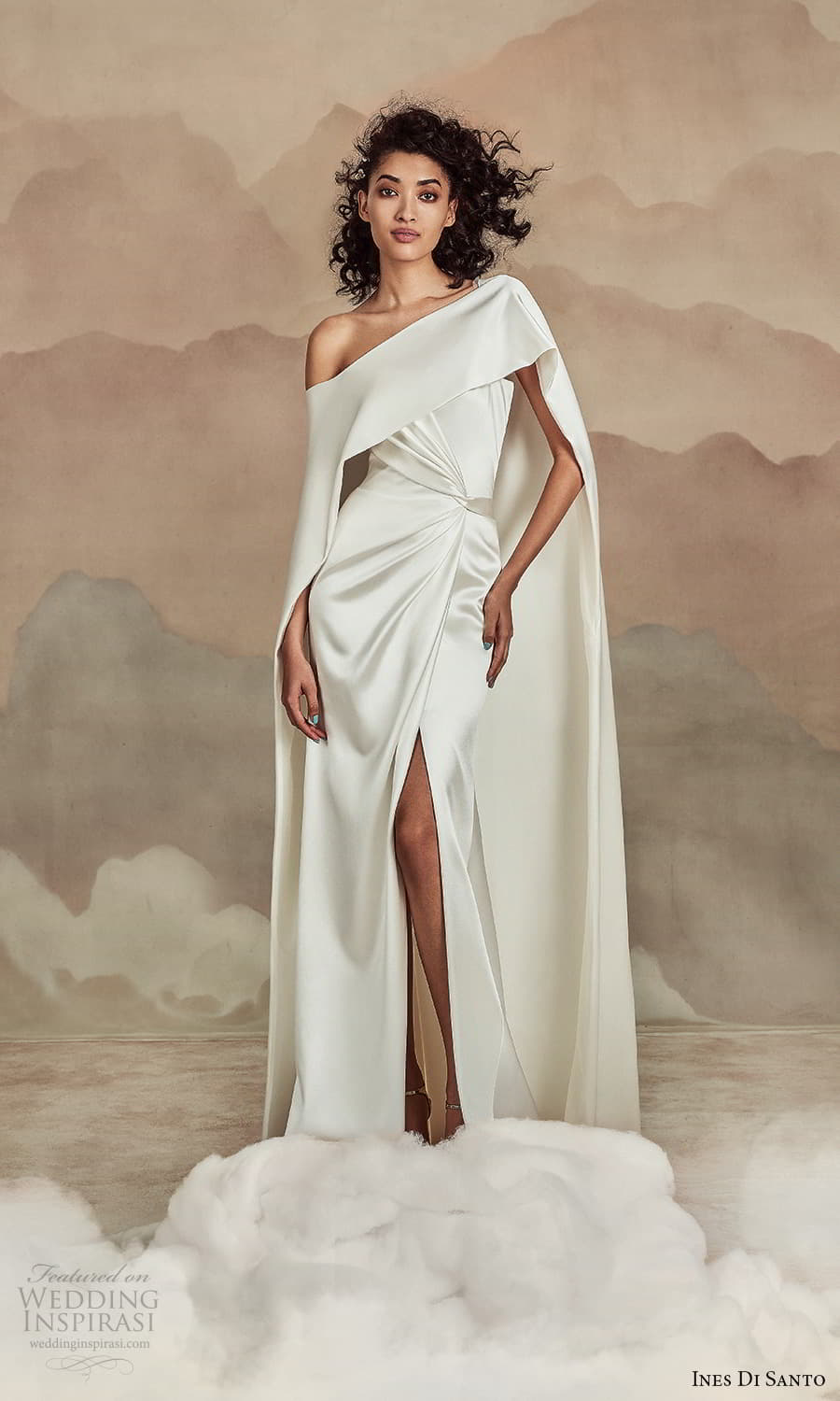 ines di santo spring 2022 bridal strapless straight across neckline clean minimalist sheath wedding dress cape (8) mv