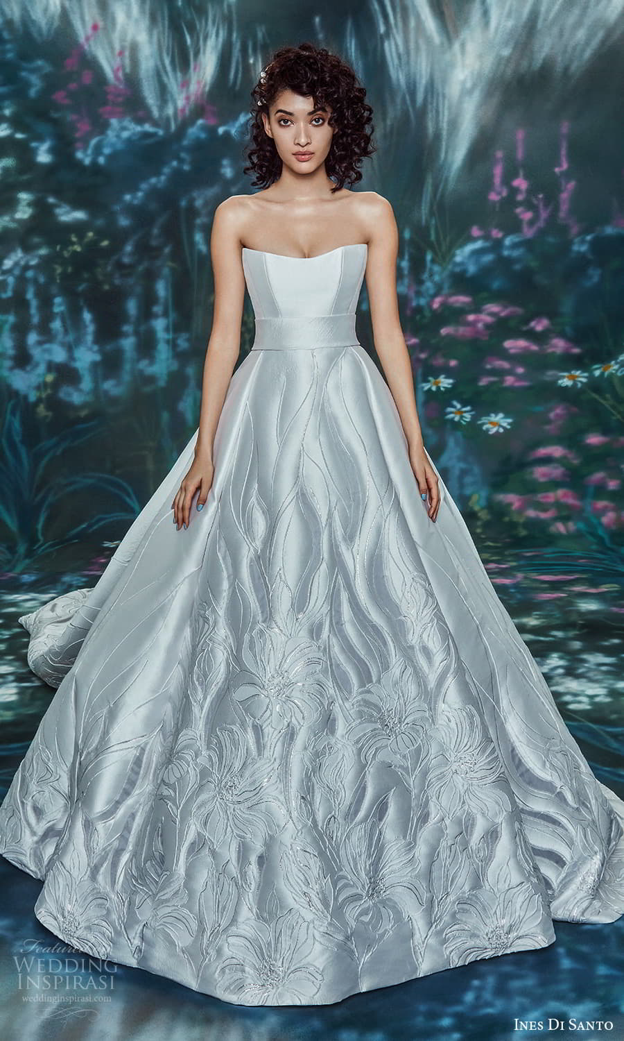 ines di santo spring 2022 bridal strapless straight across scoop neckline chic modern a line ball gown wedding dress chapel train (22) mv